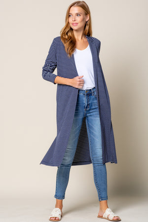 Navy Striped Duster
