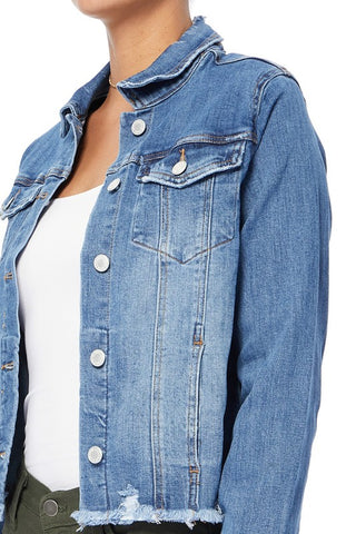 Distressed hem denim jacket