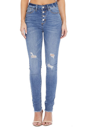 High Waist Button Fly Skinny Denim Jean