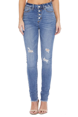 High Waist Button Fly Skinny