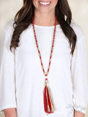 Golden Red Beaded Tassel Necklace