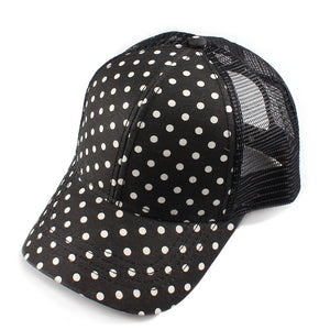 Have you heard? Polka dots are back! And-they're cuter than ever in this mesh back C.C ball cap. Available in so many colors, you may need more than just one!