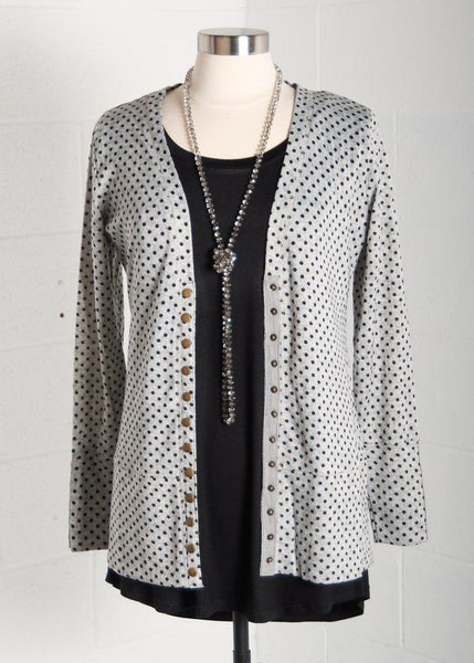 Black on Gray Polka Dot Snap Cardigan