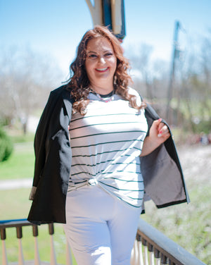 Black and White Striped Detail Top with Lace