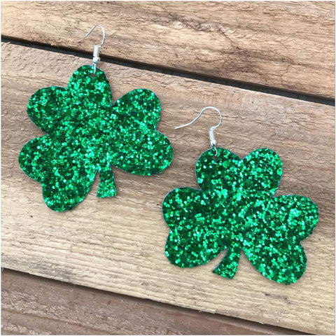 Glittery Shamrock Earrings