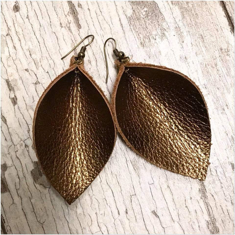 Bronze Petal Leather Earrings