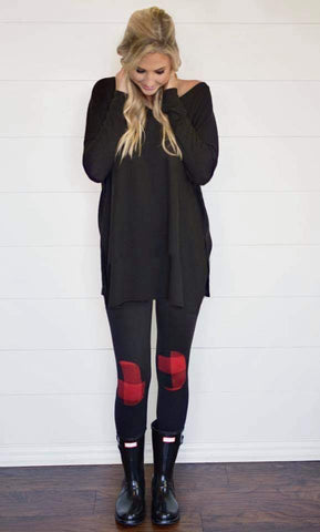 *PRE-ORDER* Buffalo Plaid Knee Patch Leggings