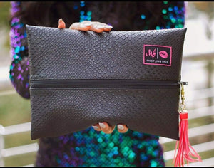 Zipper Washable Travel tassel tank small Shark tank Shark red Mj Mini Meredith jurica Meredith medium makeupjunkiebags.com Makeup junkie bags Makeup junkie Makeup made in usa made in the usa Made in Texas Leather Lay flat makeup bag Lay flat large Jurica Gifts Faux leather Cosmetic bag black Bag Accessories