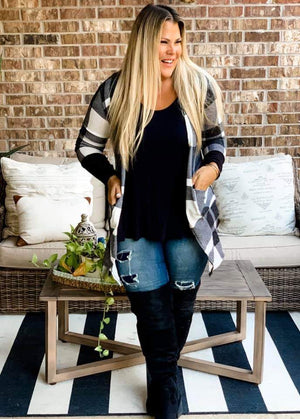Plaid Thumbhole Sweater Cardigan