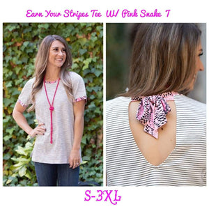 Pink Snake and Stripe Tee