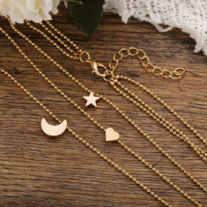 Trendy Star, Heart, Moon Layered Charm Necklace