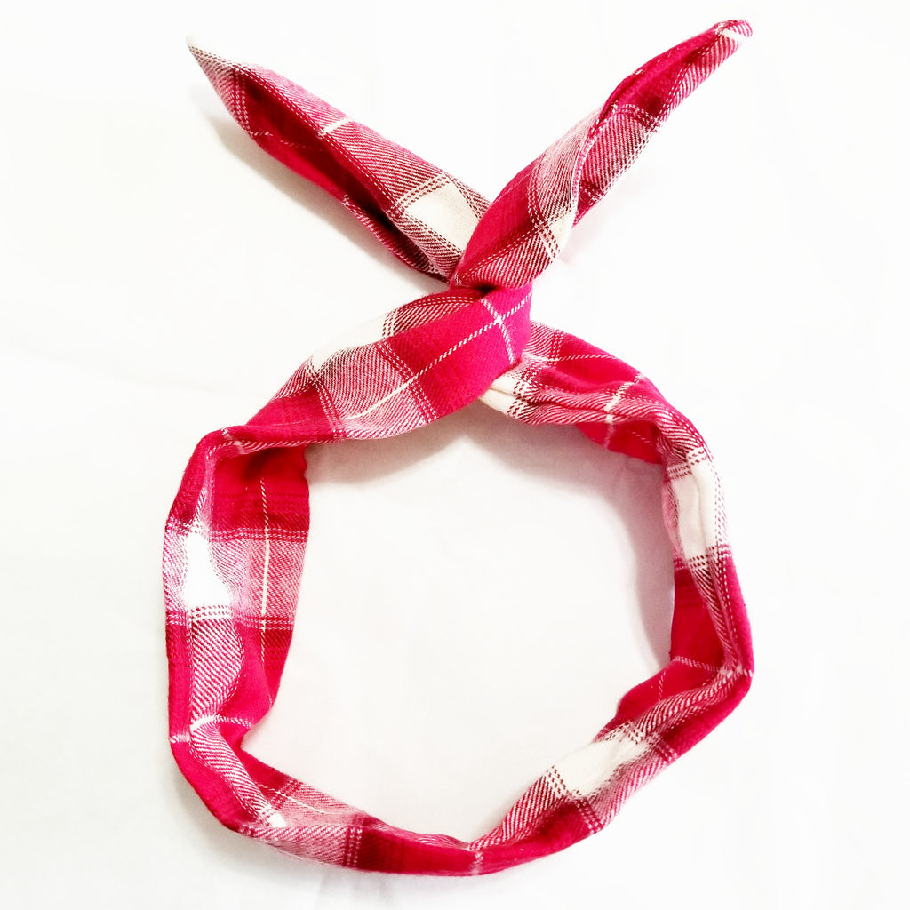 Red Flannel Wire Headband