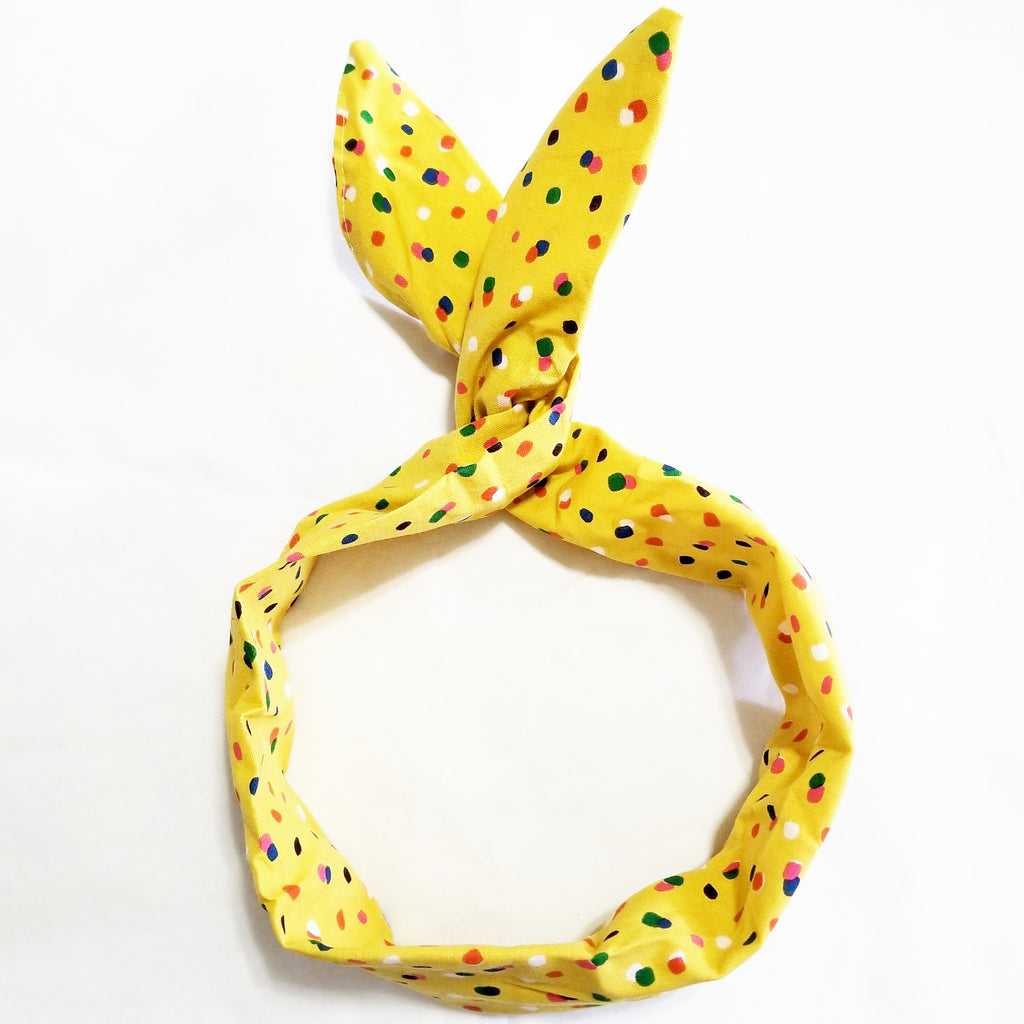 Yellow Colorful Polka Dot Wire Headband
