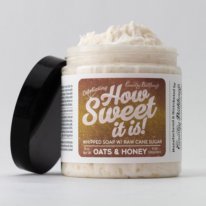 Oats and Honey Whipped Soap and Raw Cane Sugar Scrub