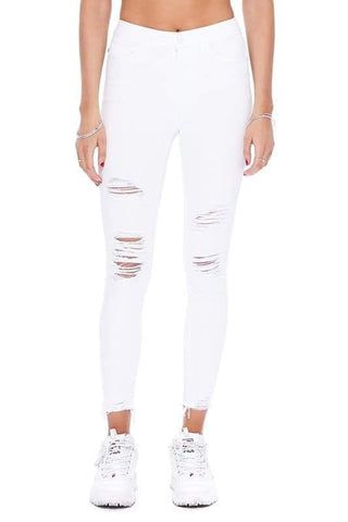 White, distressed, frayed bottom skinny jean.