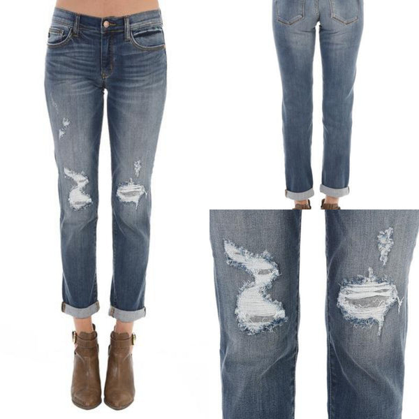 Cuffed Destroyed Boyfriend Denim