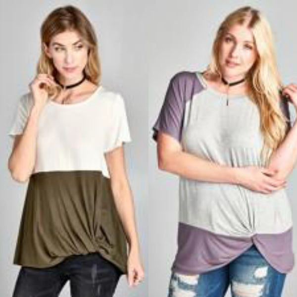 Knotted Color Block Tee