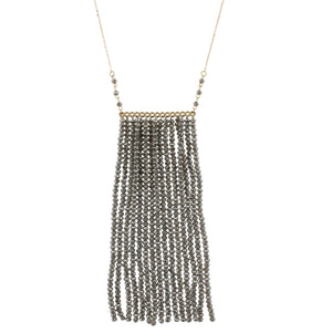 Beaded Tassel Bar Necklace