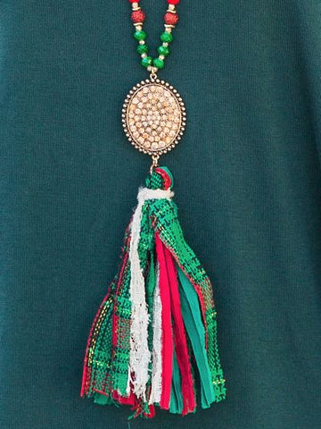 Red and Green Beaded Necklace with Crystal Pendant