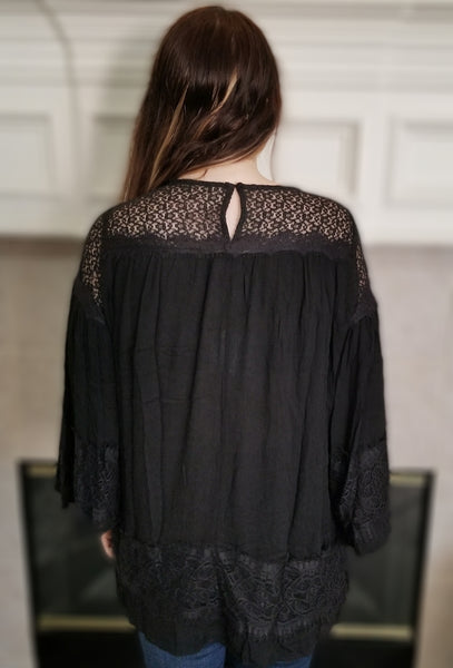 Bell Sleeve Tunic with Lace Trim Details and Back Keyhole