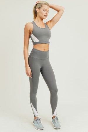 Solid High Waist Leggings with Pastel Decor (Pink Gray)