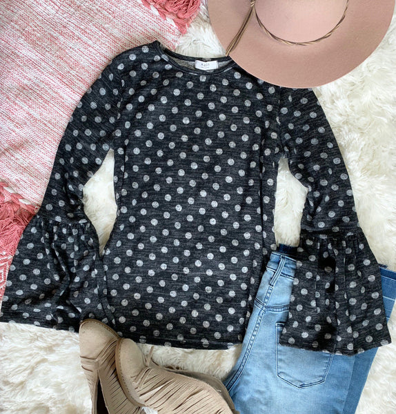 Polka Dot Bell Sleeve Sweater
