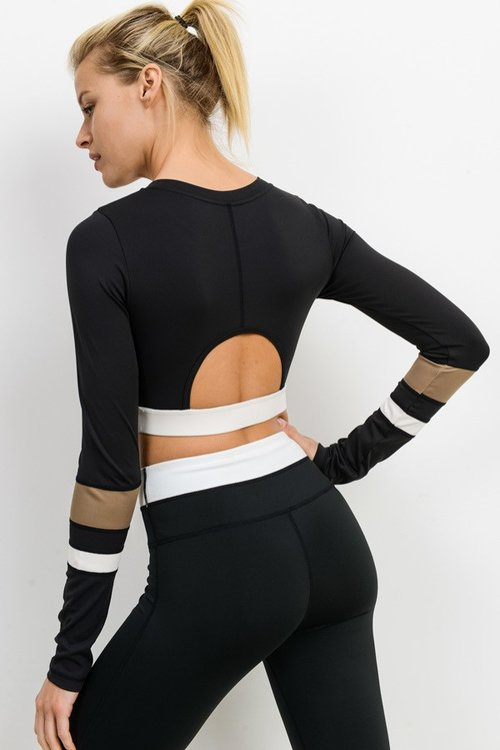 Long Sleeve Peek A Boo Back Crop Top