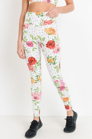 High-waist Dots and Roses Leggings