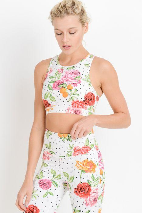 Dots and Roses Racerback Sports Bra