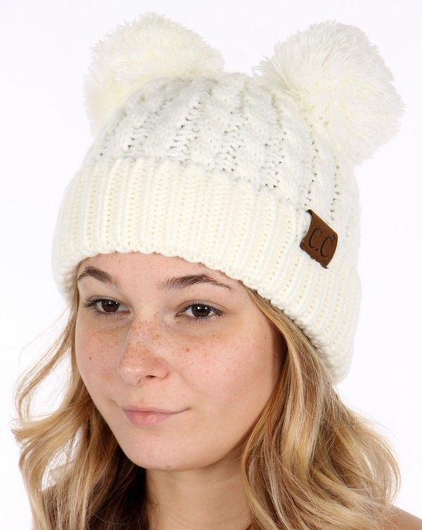 Thick Knit C.C. Beanie with Double Pom