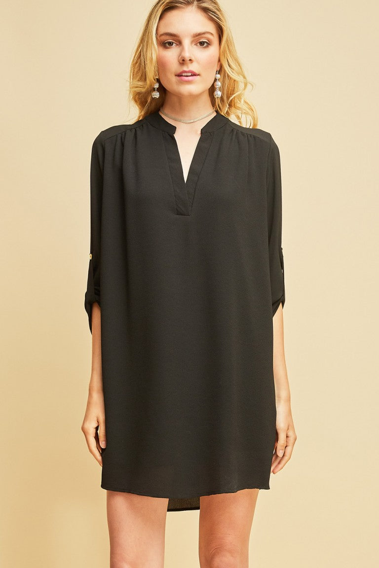 Black V-Neck Blouse Dress