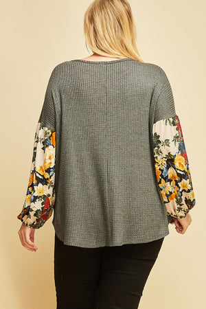 Boho Waffle Knit Top with Floral Sleeve
