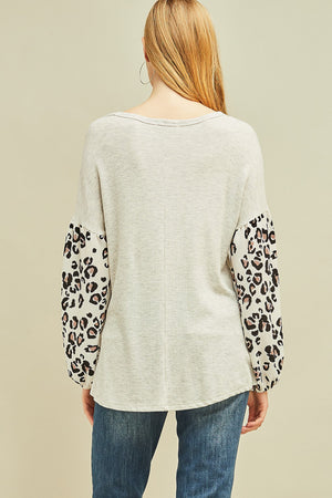 Leopard Sleeve Detail Scoop Neck Top