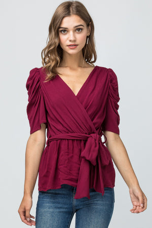 BLACK Tie Front Ruched Sleeve Top