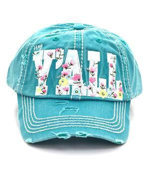 "A trucker hat with our favorite southern phrase, ""Hey Y'all!"" including gorgeous spring florals.   Low Profile Trucker Hat with just the right amount of distressing."