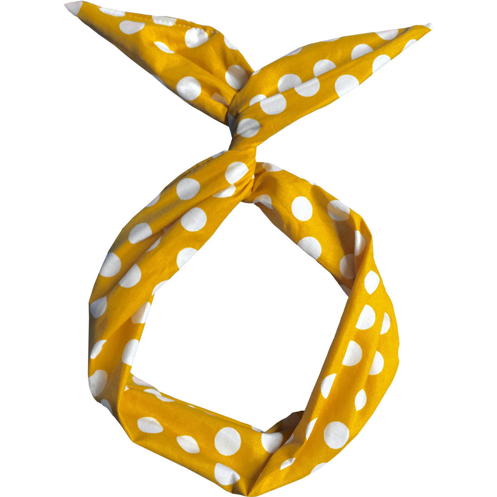 Yellow with White Polka Dots Wire Headband
