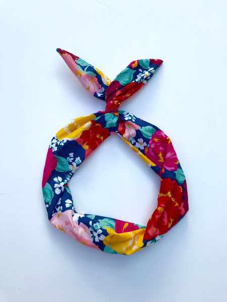 Navy Floral Wire Headband