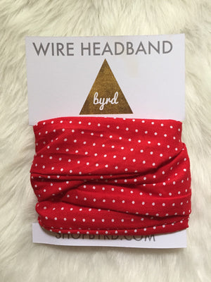 Red with White Dots Wire Headband