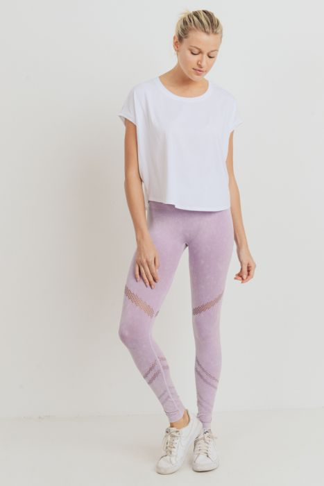 Angled Perforation Lavender High Waist Leggings