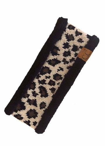 Lined Leopard Knit CC Headband