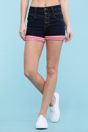 Red Gingham Denim Shorts