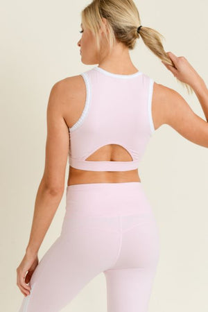Light Pink Scallop Trim Sports Bra