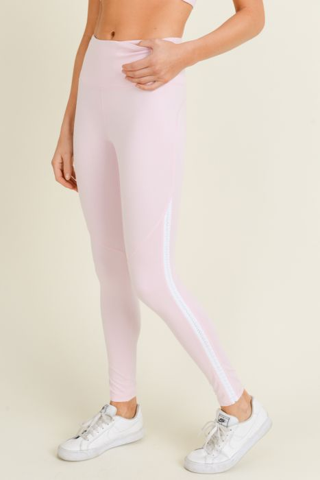 Pink Scallop Trim Leggings