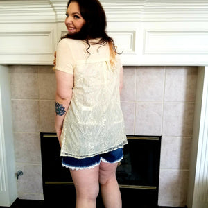 Short Sleeve Tunic with Back Lace Contrast