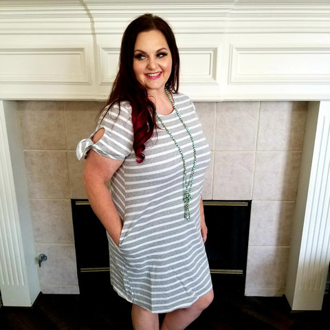 Gray and White Stripe Knit Dress