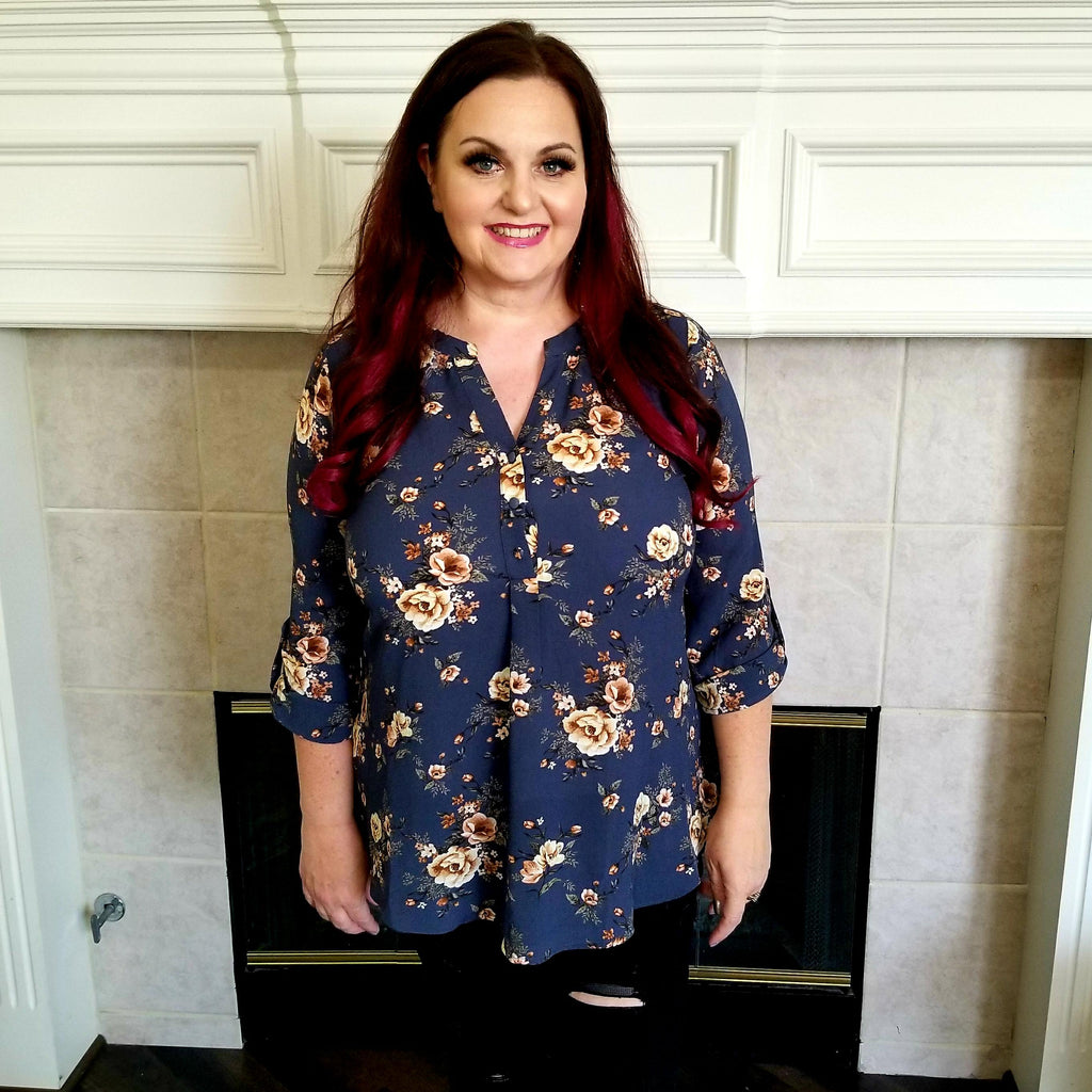Navy and Floral Blouse