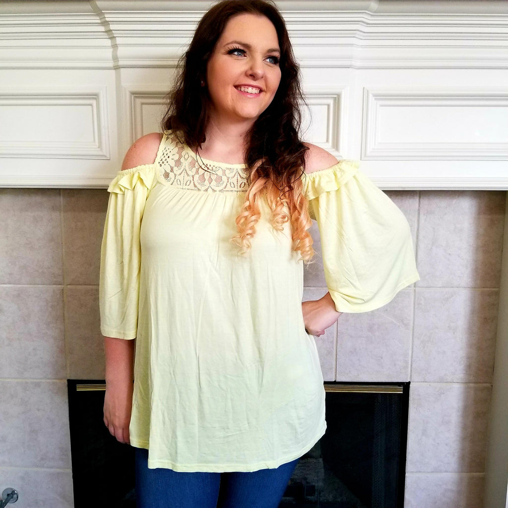 Cold Shoulder Lace and Ruffle Detail Top