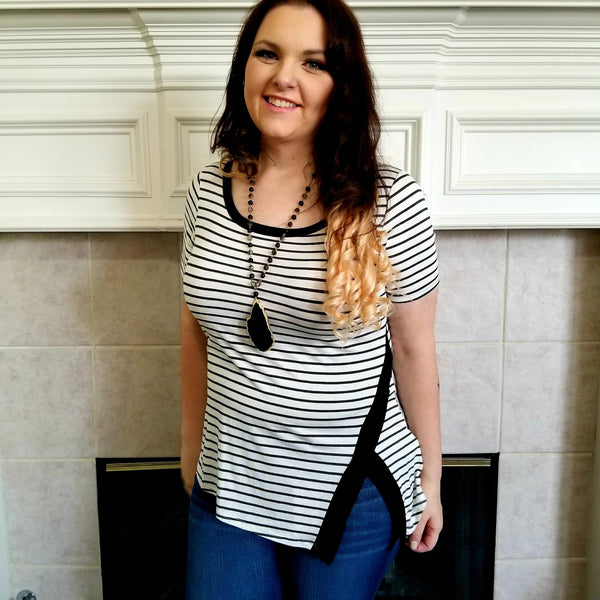 Striped Tee with Hip V Detail