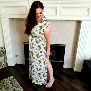 Button Down Short Sleeve Maxi Dress