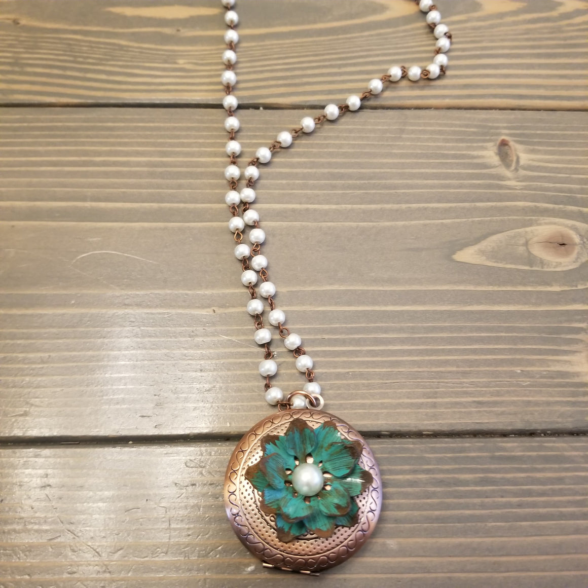 Bronze & Turquoise Floral Locket